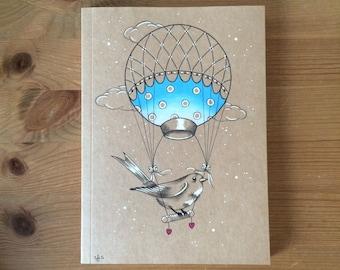A5 Hand Illustrated Notebook/Journal/Sketchbook // Bird & Hot Air Balloon // Original Artwork // Unique // Gift Idea
