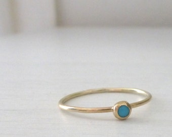 9ct Yellow Gold Ring - Turquoise - Skinny Stacking Ring