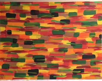 51 - Greens, reds, oranges, black, brown & yellow, abstract acrylic painting, 18x24