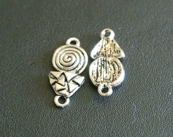 Set of 10 connectors Bohemian boho silver, 21 x 9 mm, spiral motifs and triangles, 2 holes for hanging