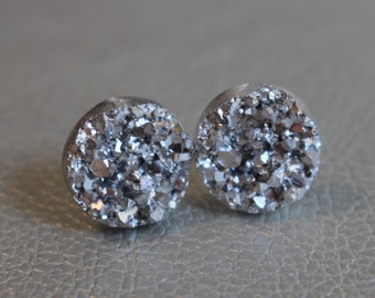 Sparkly 12mm silver faux druzy earrings on stainless steel posts ~Titanium posts available for those with nickel sensitive ears ~Bridesmaids