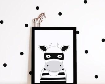 Monochrome Nursery decor, nursery art print, nursery wall art, kids room decor, superhero print, black and white nursery poster, bull