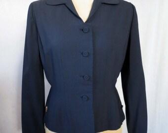 Vintage Mid Century Navy Blazer Jacket Friedmont House Jacket Size Small.