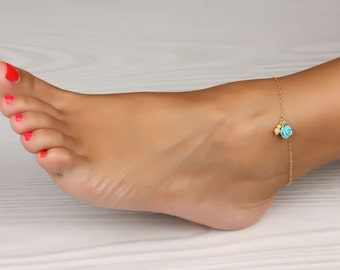 Initial Ankle Bracelet / Turquoise anklet / Rose gold anklet / Gold filled anklet / Anklet / Bridesmaid anklet / Best Friend anklet  / Aigle