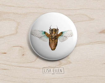 Cicada Bug Badge - Illustration Pinback Button