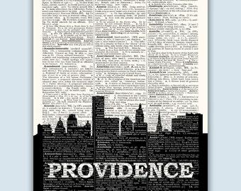 Providence Skyline, Providence Poster, Providence Decor, Providence Print, Providence Art, Providence Gift, Rhode Island Art