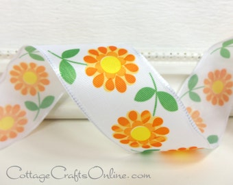 "Wired Ribbon, 1 1/2"",  Orange Daisy, Yellow Center Floral Print Taffeta  - FIFTY YARD ROLL - Offray ""Flirt"" Spring, Flower Wire Edged Ribbon"