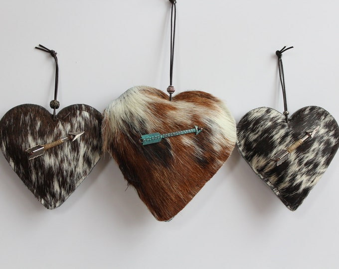 Valentine Puff Hearts made from Exotic Cowhide