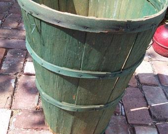 Vintage Green Wooden Fruit Basket