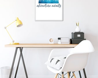 Adventure awaits printable wall art, wanderlust boho decor, motivational poster, office decor home decor inspirational quotes, digital print