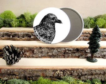 "Crow Pocket Mirror - American Crow Gift - Animal Pocket Mirror 3.5"" - Large Make Up Mirror - Gift under 10 dollars Girl Gift"