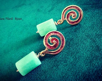 Natural bronze with red enamel and Aventurine earrings