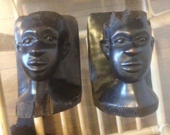 vintage hand carved hardwood African Ebony bookends
