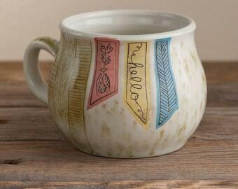 coffee mug - folk - illustrated - handmade - floral - art pottery