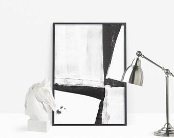 Abstract Painting Print, Paintings Printable, Black White Art, Modern Wall Art, Digital Prints, Abstract Brush Lines Print, Brush Stroke Art