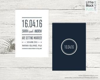 Navy Typography Save the Date | Modern Typography Wedding Date Saver | Personalised Digital File