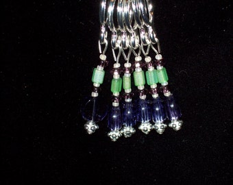 Stitch Markers, Stitch Markers for Knitters, Purple and Green Beaded Stitch Markers, Gift for Knitter by hipknitta