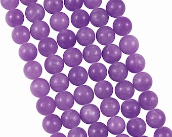 10 x 4mm purple tinted Jade round beads