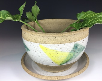 Pottery Planter with Optional Saucer, Stoneware, Drainage Hole, Unglazed Interior, Speckled White, Gray, Yellow, and Green