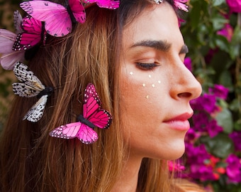 Wildest Dreams Butterfly Crown, Festival Flower Crown, Pink Headdress, Spring Butterfly Headband