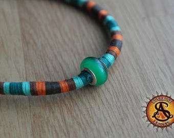 Friendship bracelet, hand woven cotton anklet, Green, Brown and Orange, Green cat's eye glass bead, Murano glass, adjustable lobster clasp