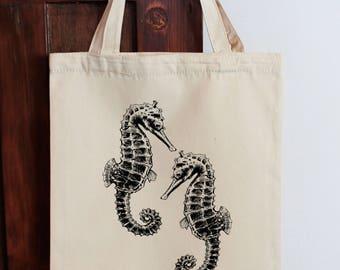 Seahorse Tote Bag, Calico Shopping Bag Seahorse Bag Cotton Tote Bag, Fabric Shopping bag, Cotton Eco Bag Vegan Bag Graphic Tote Beach Bag