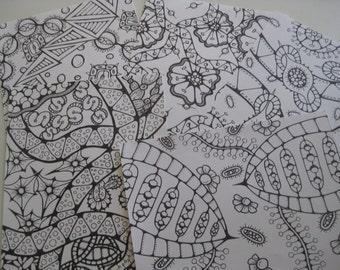 Instant Download Doodle Coloring Pages - 5 Printable Designs  - Set 21