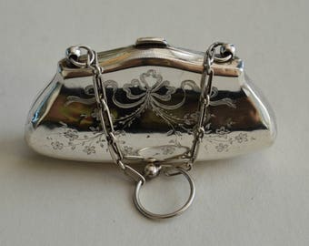 Miniature Silver Purse with Chain, Birmingham 1915