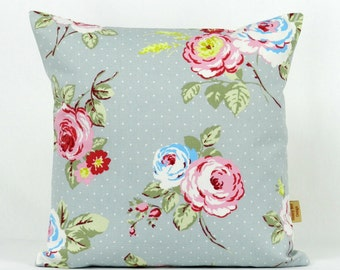 18x18 pillow cover, Throw Pillow Cover, Decorative throw pillow, English Rose, shabby chic, Floral pillow case, sham, grey, pink, 18 inch
