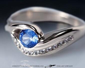14K Palladium White Gold Engagement Ring with Round Blue Sapphire