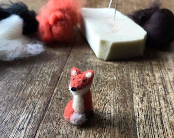 Teeny Tiny Miniature Needle Felted Fox - Cute Needle Felted Animal - approx. 35mm tall - Little Fox Keepsake - Needlefelting