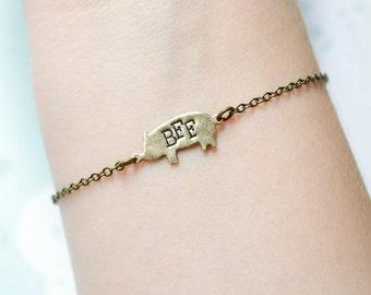 Verkauf - Schwein Freundschaft Armband - Schwein BBF Armband - bester Freund Armband - Freundschaft-Schmuck - BFF Schmuck Sekunden
