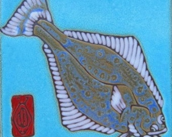 Hand Painted Ceramic Tile Halibut aka Flounder Original Art