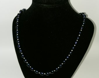 Black & White Pearl Necklace 18 Inch Sterling Silver Lobster clasp
