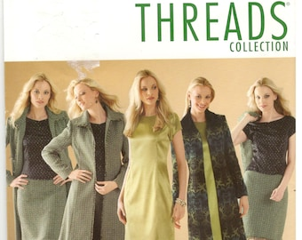 Simplicity 4427 Size 8, 10, 12, 14, 16 Women's Threads Magazine sewing pattern.  Princess seam dress or top, pencil skirt, pants, lined coat