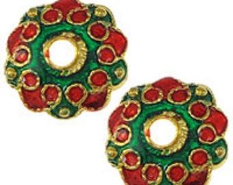 4pc 13 mm or ton avec émail bead cap-9764