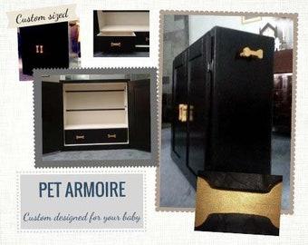 Pet armoire, pet wardrobe, custom designed, hand painted, dog closet, pet clothes closet, dog wardrobe closet, pet furniture,dog armoire