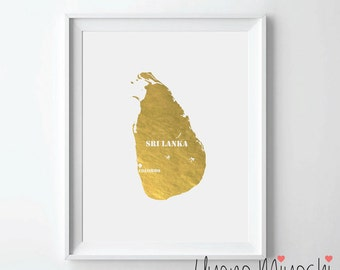 Sri Lanka Map Gold Foil Print, Gold Print, Map Custom Print in Gold, Illustration Art Print, Map of Sri Lanka Gold Foil Art Print