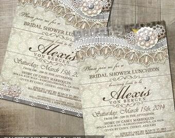 Rustic Lace Wedding Bridal Shower Invitation Vintage Lace Wedding Shower Invitation DIY party Invitation Printable Invite White Wood