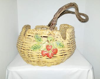 Branch Handled Basket, Hand Woven Basket, Strawberry Basket, Woven Basket, Twig Handle, Storage Basket, Rustic, Primatives, French Country