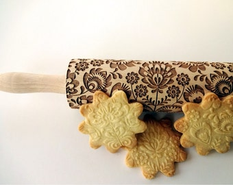 FOLK pattern Embossing Rolling pin. Engraved rolling pin for embossed cookies. Flower. National motive. Folksy