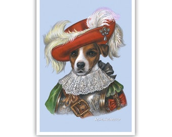 Jack Russell Terrier Art Print - The Musketeer - Dogs in Clothes Art - Hero Dogs - Pet Kingdom by Maria Pishvanova
