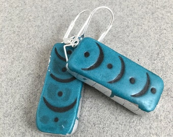 Turquoise dangle earrings with silver leaf oblong lightweight clay
