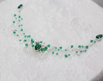 wedding hair comb Emerald Hair Comb Bridal Hair Comb emerald hair piece green bridal accessories Bridal headpiece emerald Green headpiece