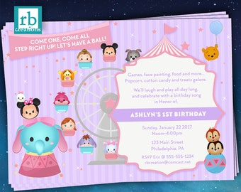 Carnival Invitations, Tsum Tsum Party, Circus Party, Disney Carnival, Circus Invitation, Carnival Party, Dumbo - Digital Printables