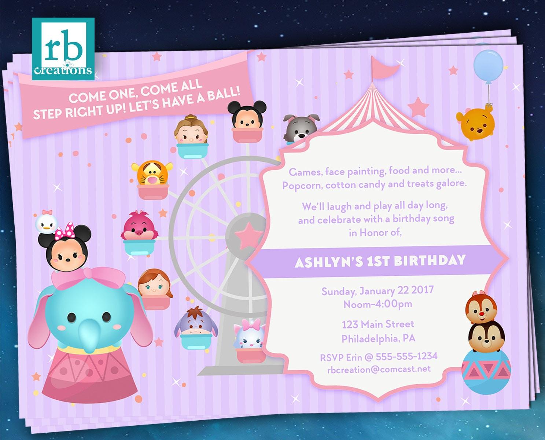Carnival Invitations Tsum Party Circus Disney