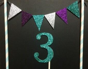 Frozen Inspired Glitter Bunting Banner & Cake Topper