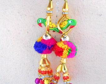 2 Pom tassels, Indian tribal pom pom tassel with parrot beads and pom poms, pom pom bag charms.