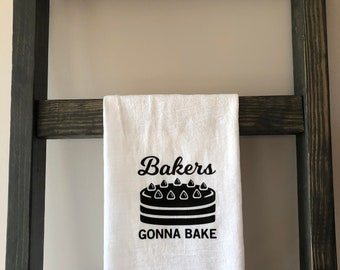 flour sack kitchen towel bakers gonna bake - Bakers Gonna Bake Kitchen Redwork Embroidery Designs