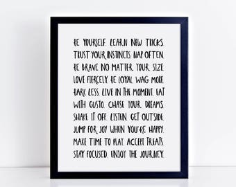 20 Life Lessons We Learn From Dogs - Dog Quote Typography Wall Art Print